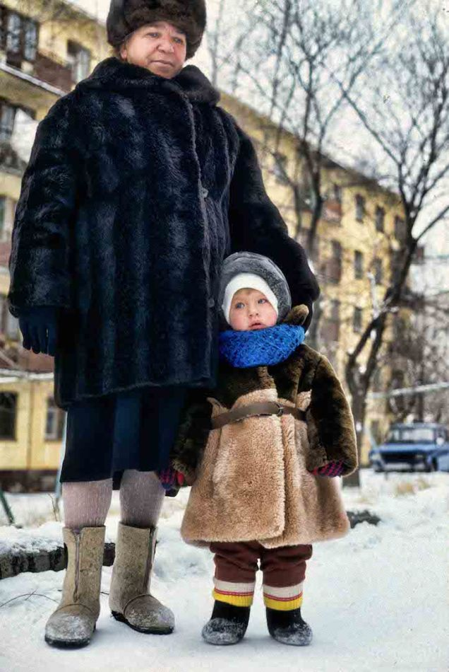 Woman and little boy with blue scarf SMALL